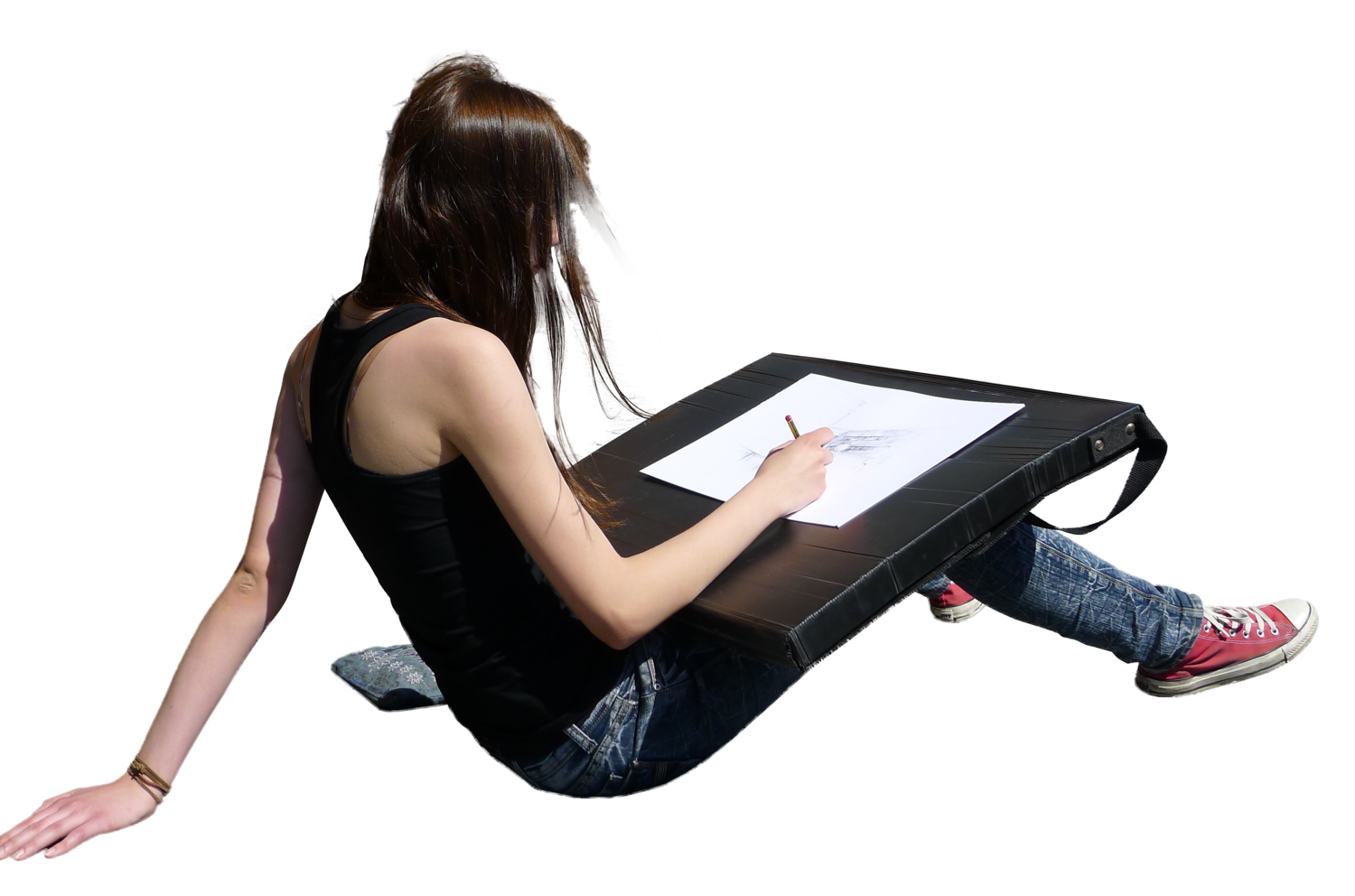 Girlsittingdrawing