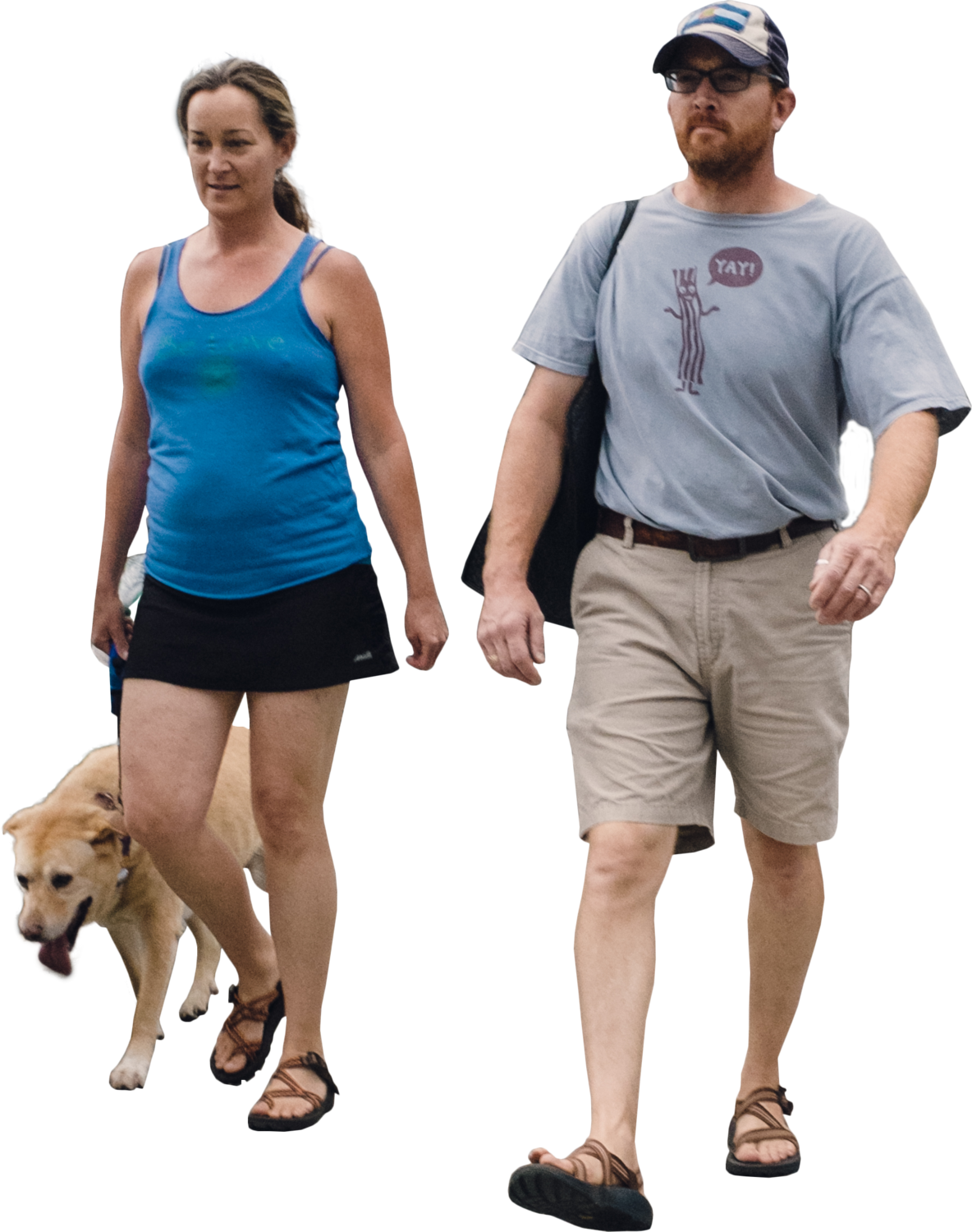 Manandwomanwalkingdogfront