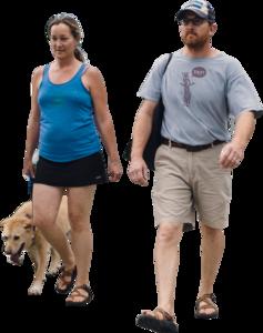 Manandwomanwalkingdogfront