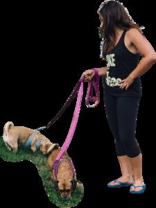 Womanwalkingdogssidefront