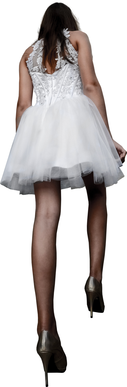 Womanweddingdressbehindstairs